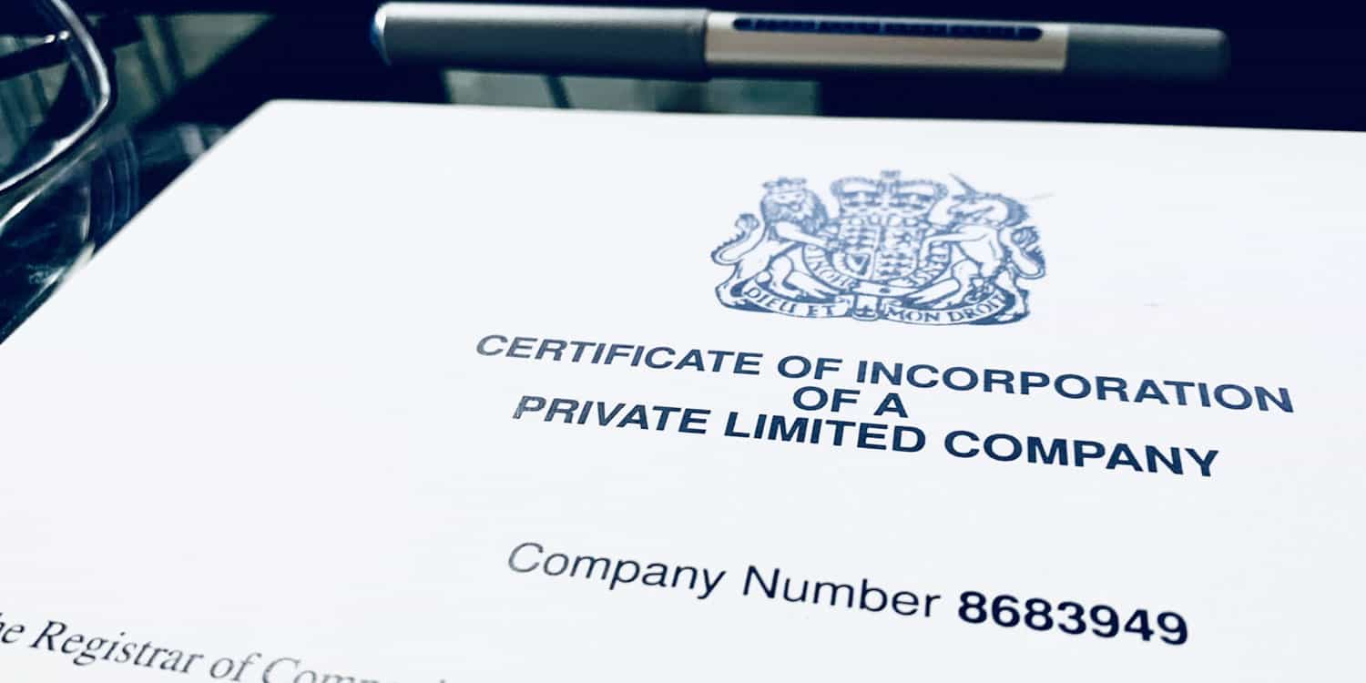 Partial image of a printed certificate of incorporation for a UK limited company, with a company registration number displayed at the top of the page