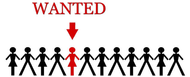'wanted' sign with male and female people icons