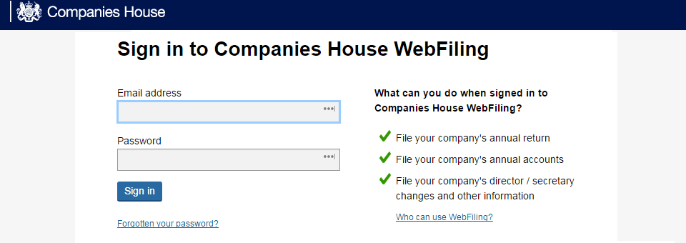 Reporting changes to Companies House