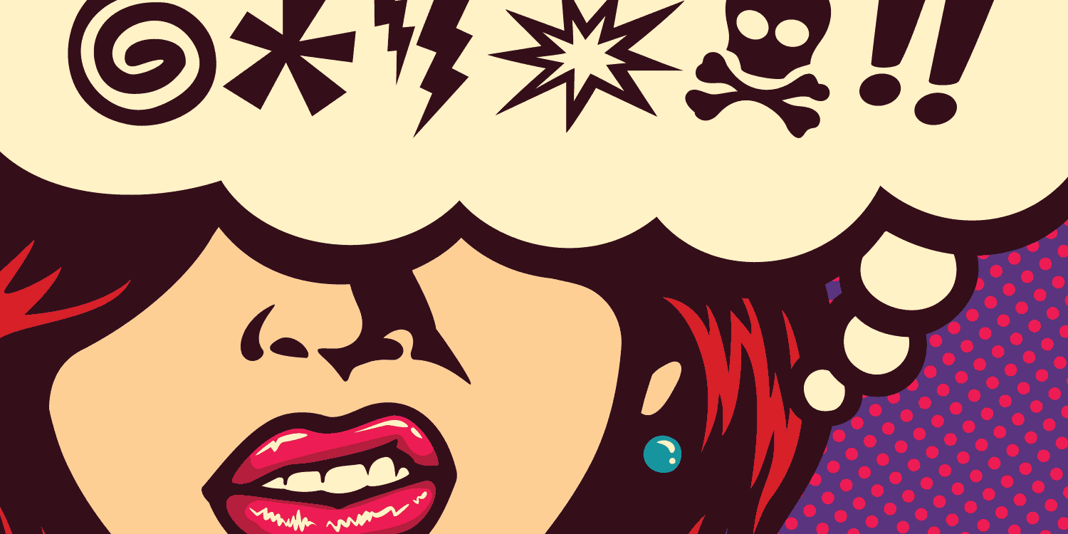 Pop Art graphic of a woman with a speech bubble that contains various punctuation marks in place of a profanity, illustrating that certain sensitive words in company names are not permitted.