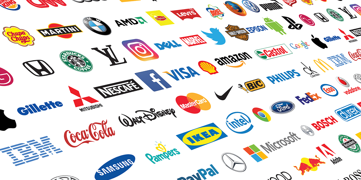 A collection of dozens of famous brand logos arranged against a white background, providing an example of the types of large businesses that could be a corporate shareholder.