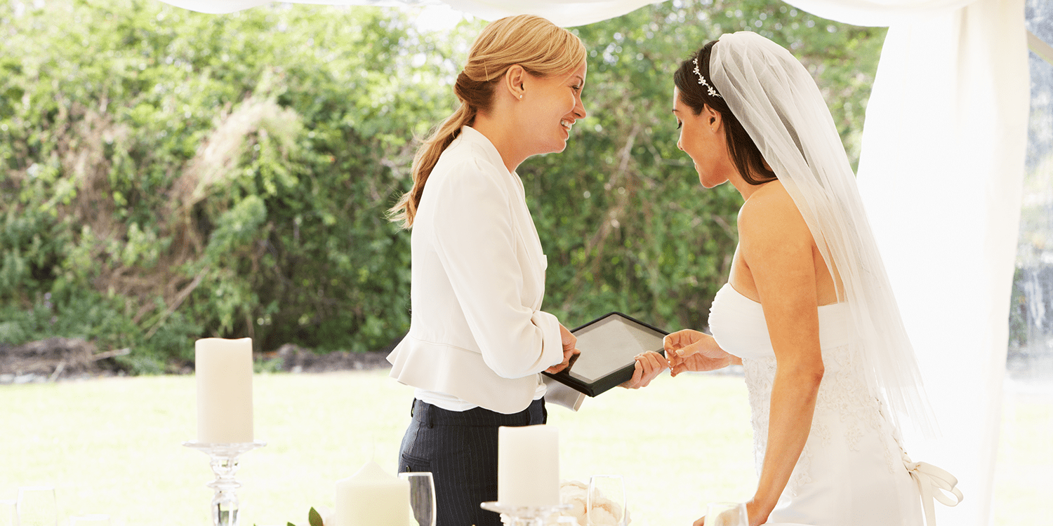 wedding planner and bride