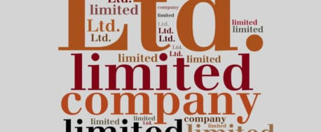 Display of text in various colours and sizes displaying the phrases and words 'limited company', 'Ltd. Company', 'limited', ltd', 'company'.