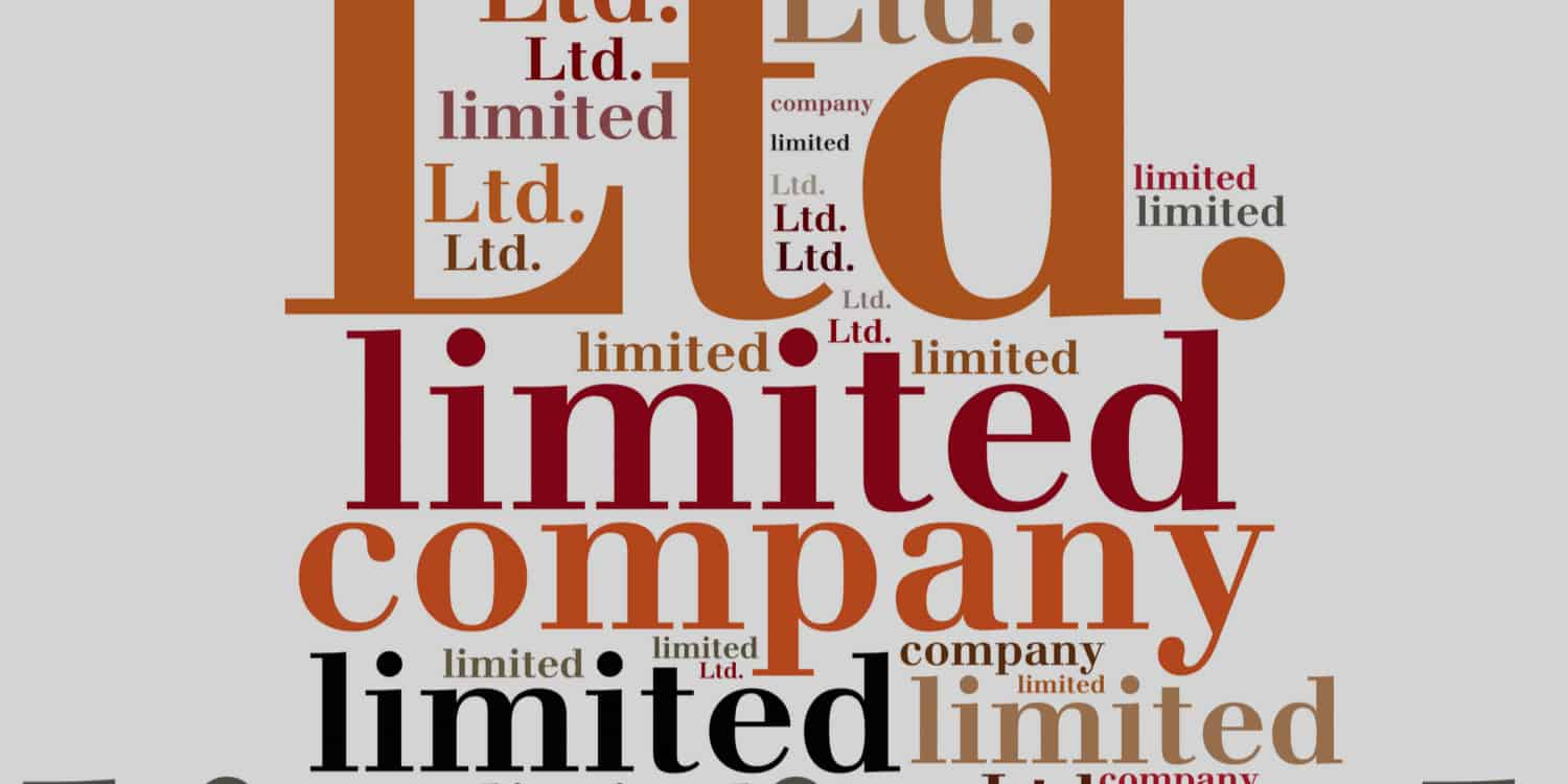 "Display of text in various colours and sizes displaying the phrases and words ""limited company"", ""Ltd. Company"", ""limited"", ""ltd"", and ""company""."