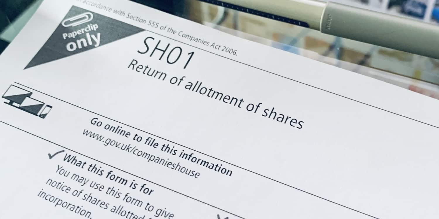 Paper copy of Companies House Form SH01 - Return of allotment of shares - which must be filed when you issue more shares