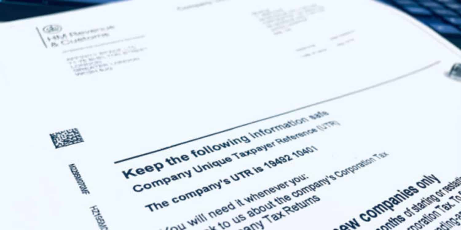 Image of the official HMRC letter that is issued to new companies, featuring a company Unique Tax Reference number.