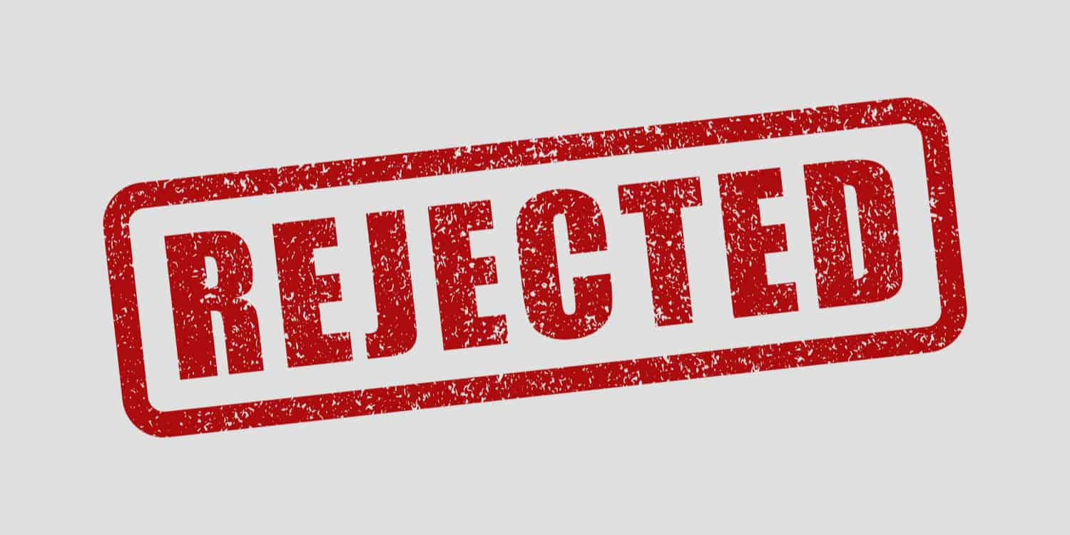 The word 'rejected' stamped in red ink on a white background, representing the potential for incorporation applications to be rejected at Companies House.