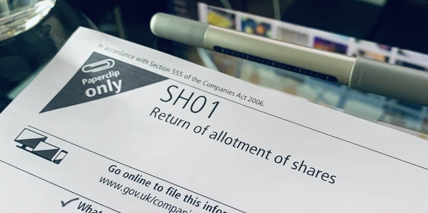 Companies House form SH01 - the Return of Allotment of Shares