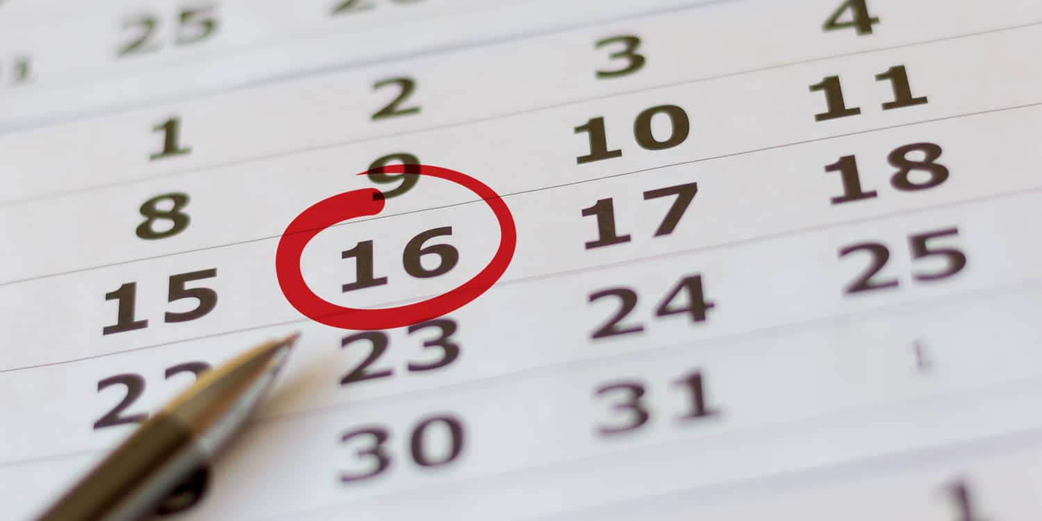 Date on a calendar circled with red pen, illustrating the concept of a limited company's date of incorporation.