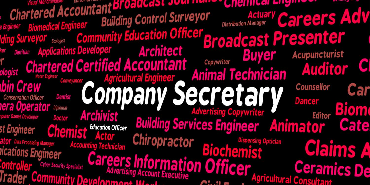 Collage of occupation names in red and pink with 'Company Secretary' highlighted in white.