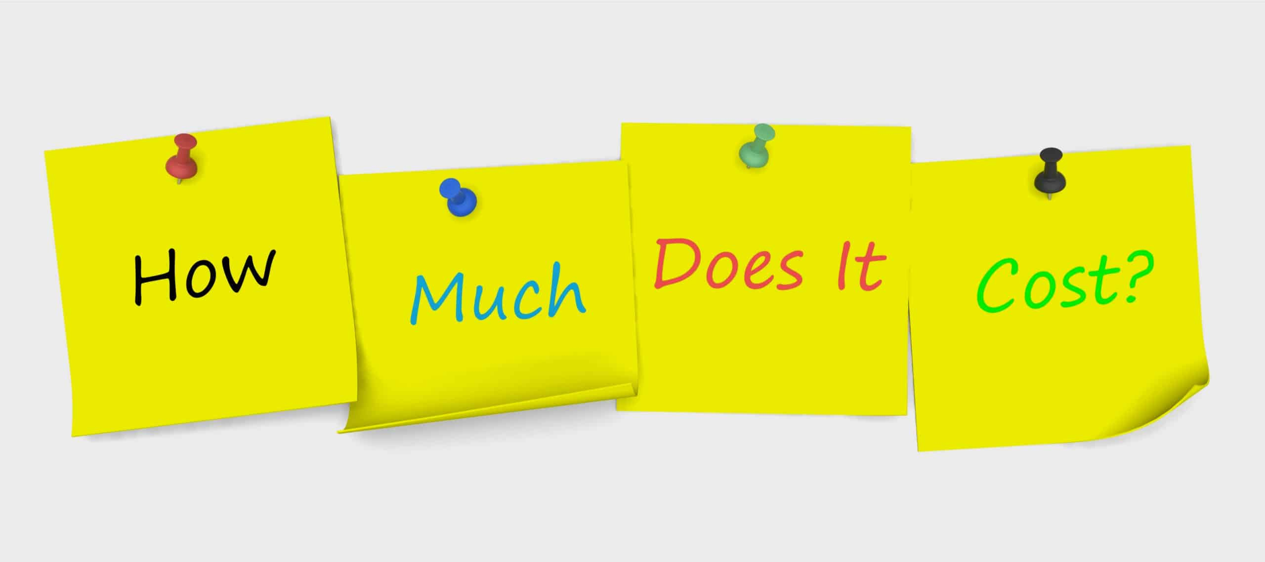 Yellow post-it notes pinned to a board displaying the phrase 'How Much Does It Cost?'