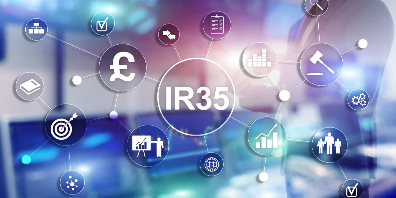 IR35 concept illustration with money, tax, and legal icons.
