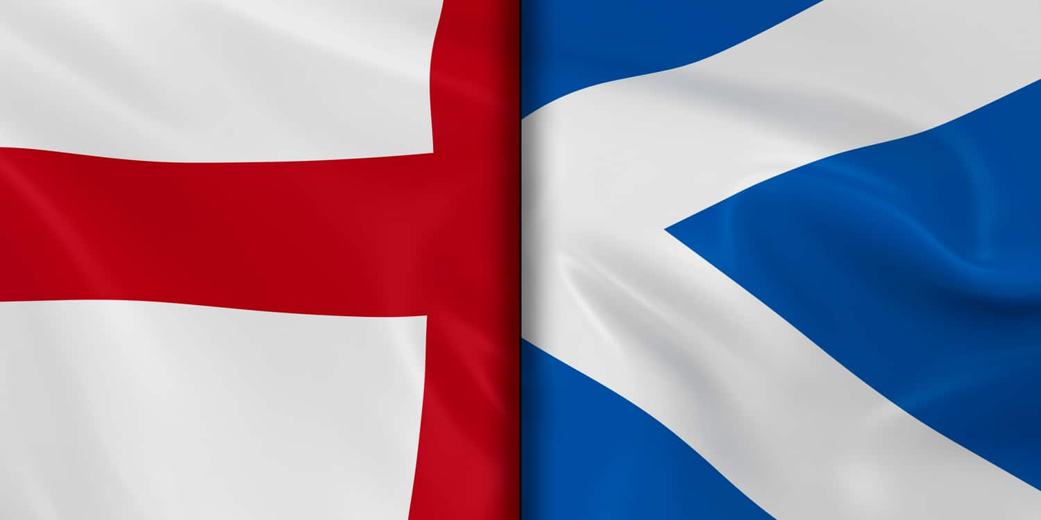 The national flags of Scotland and England.