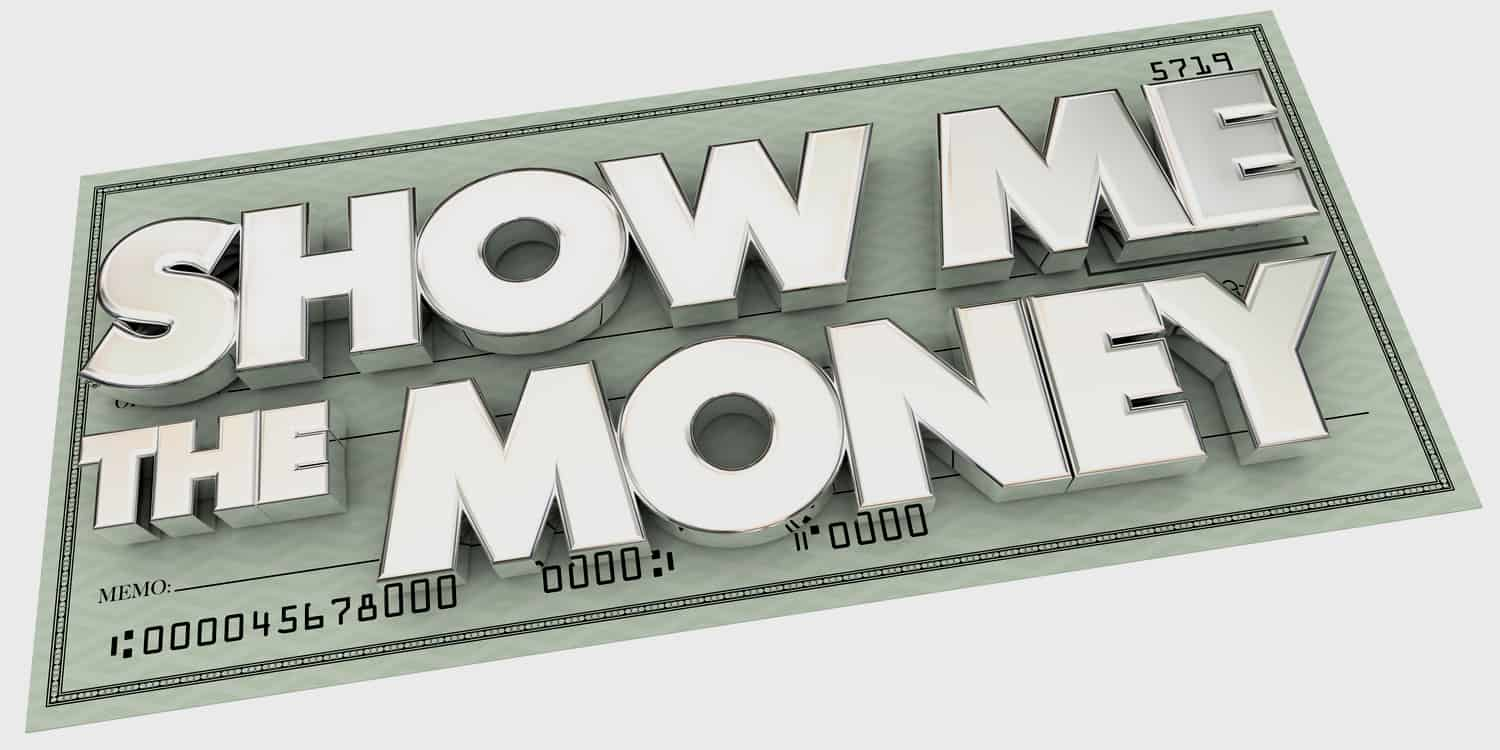 Show Me The Money pay check concept 3D illustration
