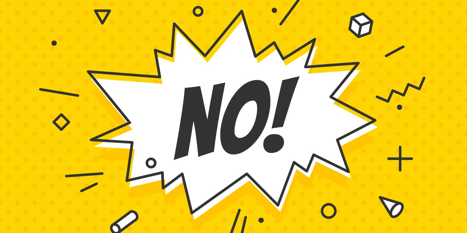 Cartoon illustration exclaiming the word'NO!'