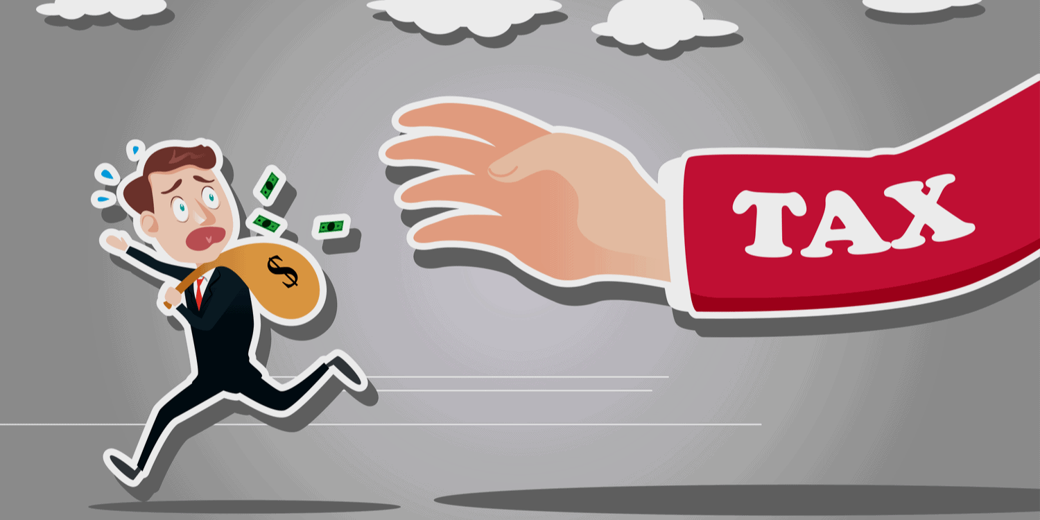 Illustration of businessman with a sack of money over his shoulder, running away from a giant hand with 'TAX' displayed on the sleeve.