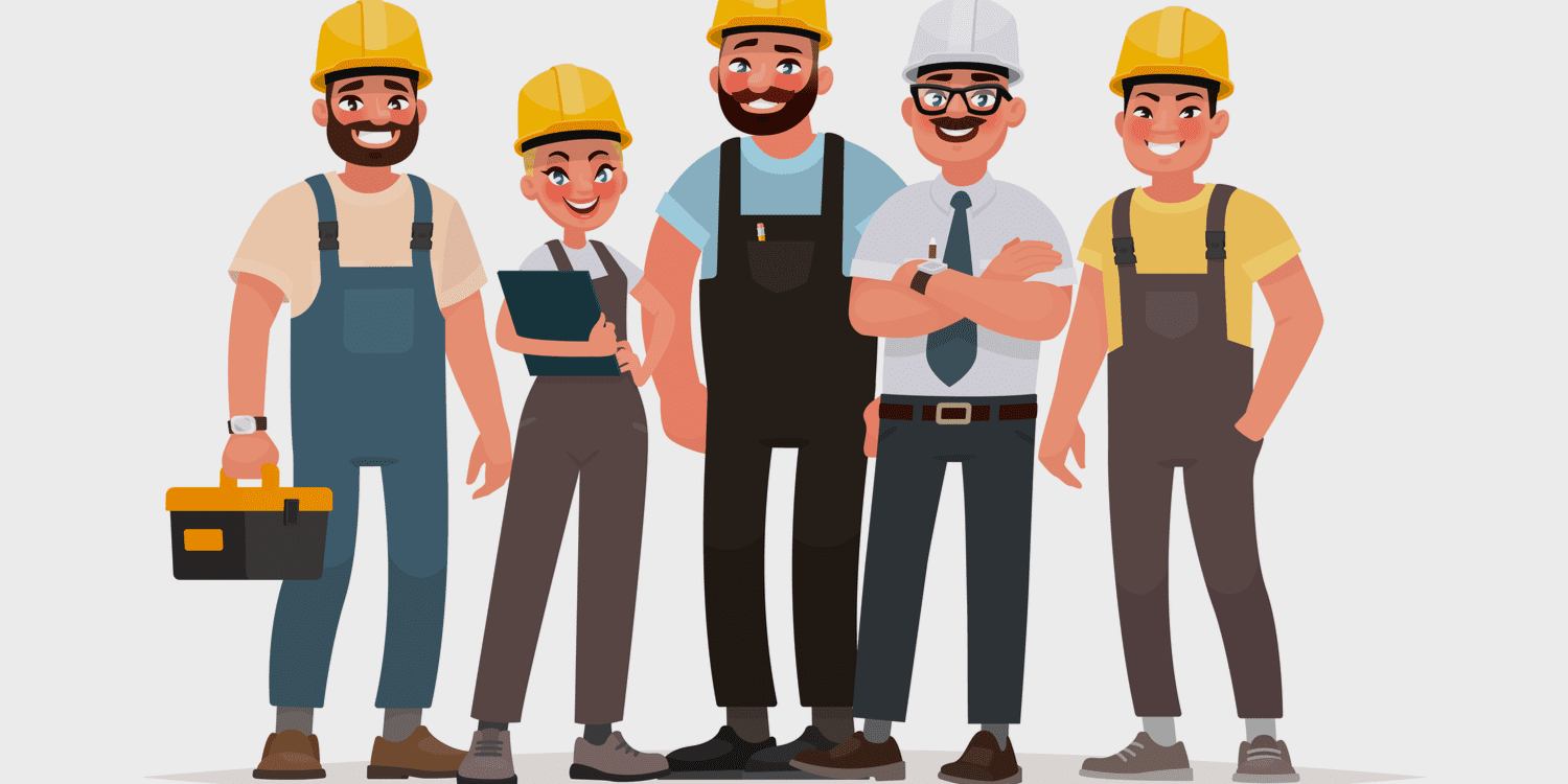 Illustration displaying group of 5 contruction workers with hard hats.