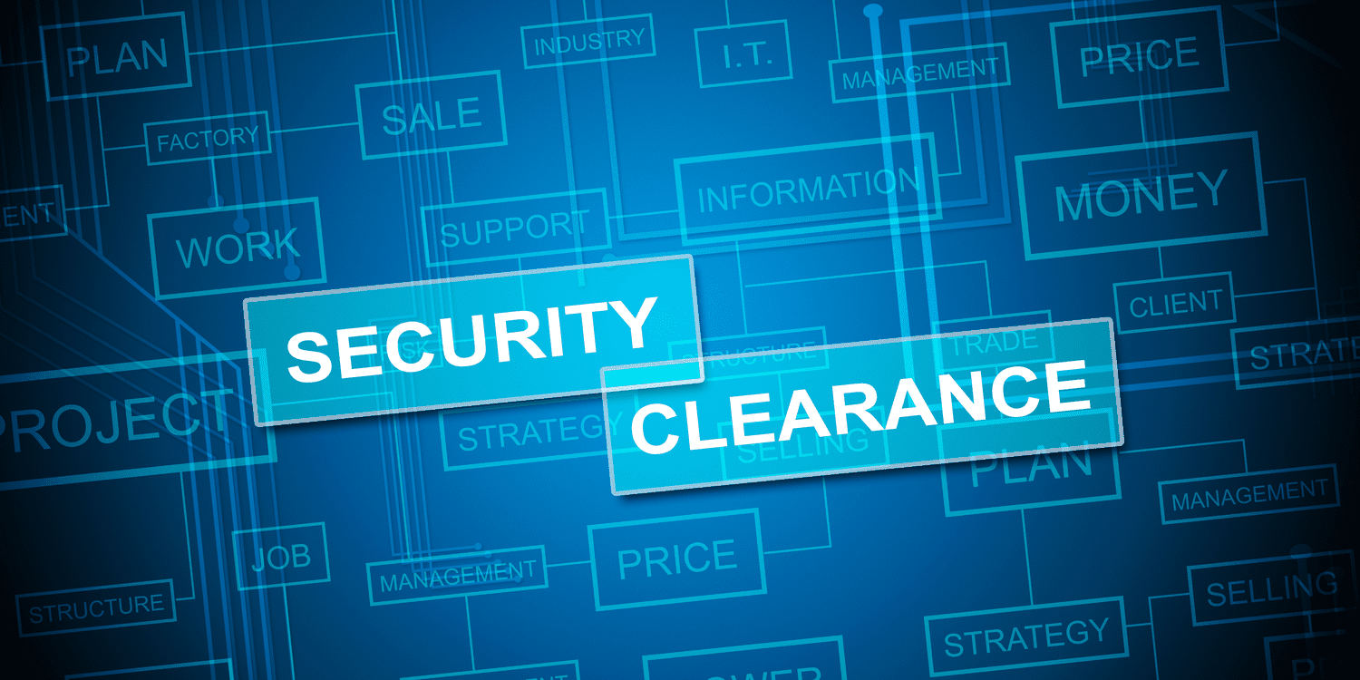 Electronic style illustration with headline graphic SECURITY CLEARANCE