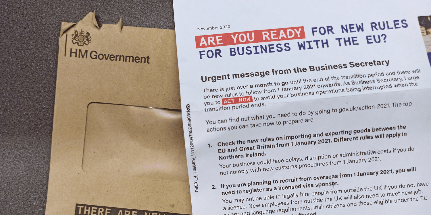HM Government brown envelope with letter from Business Secretary on getting ready for new rules for business with the EU.