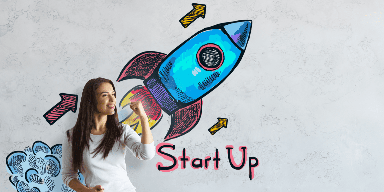 Pretty girl standing in front of illustration of rocket taking off with the headline 'Start Up'