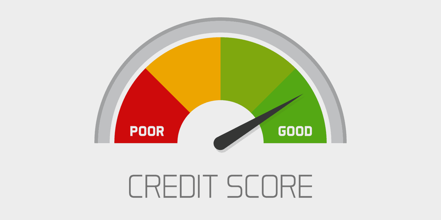Business credit score scale showing good value vector icon isolated on white background, flat colourful financial history assessment of credit score meter